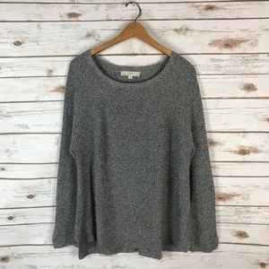 Loft Grey Chunky Marled Side Slit Sweater